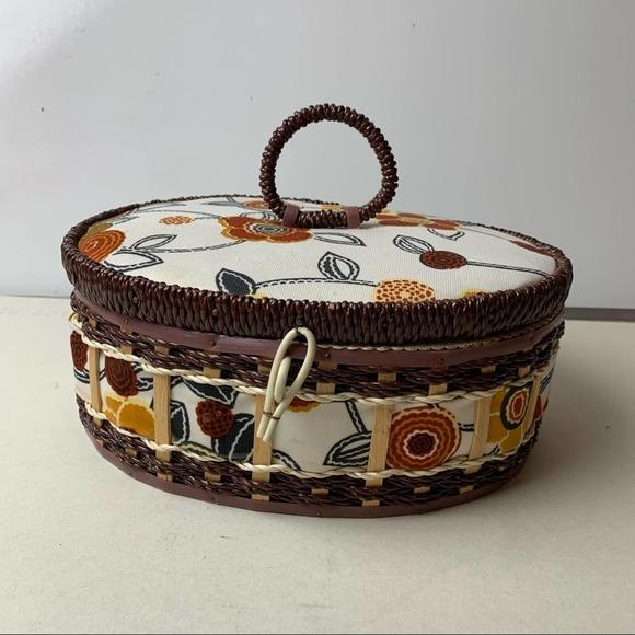 VTG Made in Korea 70's Patterned Sewing Basket